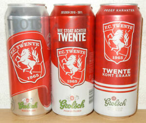 3 GROLSCH FC TWENTE SOCCER Team Beer cans from HOLLAND (50cl) Empty !!
