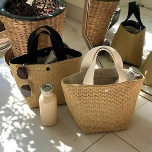 Ladies Rattan Handbags Summer Beach Straw Bag Wicker Woven Large Tote Bucket Bag