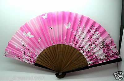 Chinese Japanese Butterfly Cherry Blossom Bamboo Silk Folding HAND FAN Pink