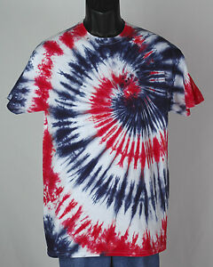 men's RED WHITE and BLUE tie dye t-shirt 100% cotton tee size ...