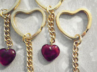 7 Pc Lot Gold Plated Heart Key Rings W/ Ruby Red Glass Heart 1075