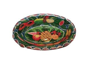 VTG Hand Painted Paper Mache Fruit Centerpiece Bowl Pineapple Watermelon Chip