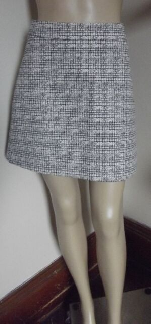 EXPRESS 00 BLACK/WHITE TWEED A-LINE SKIRT S above knee textured xxs