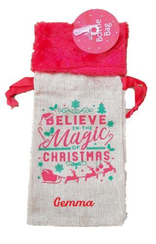 Personalised Luxury Christmas Hessian Wine Beer Bottle Gift Bag Red Fur Trim