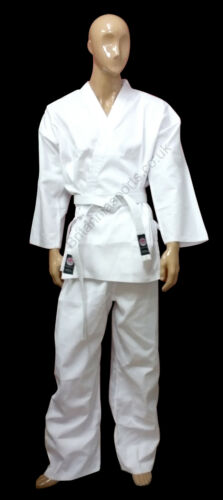 8oz Branded Polycotton Good Quality White Karate Gi Suit with FREE White Belt