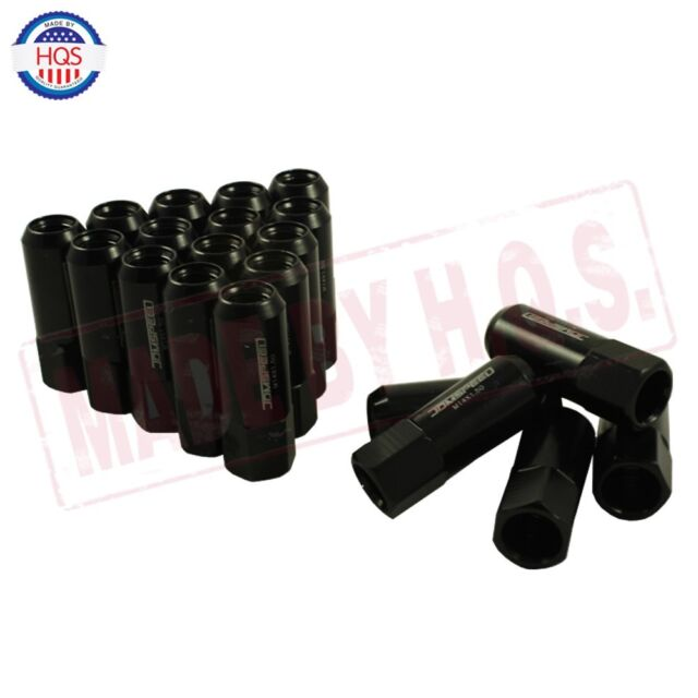 JDMSPEED New Black 20PCS 14X1.5MM 60MM Extended Forged Aluminum Tuner Racing Lug Nut
