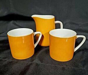 Vintage Mugs and Creamer - Mikasa Pastelle Yellow - Made in Japan - Set of 3