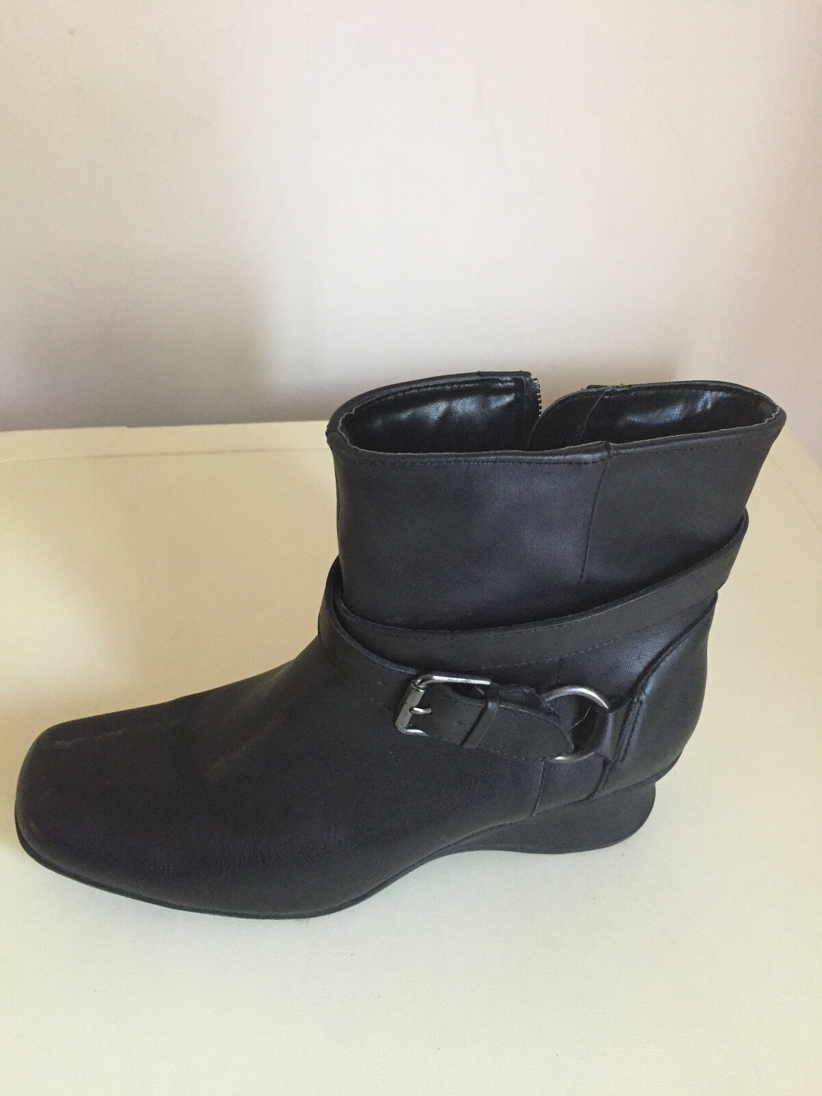 Ladies Womens WEDGE NEXT Zip Leather Ankle Boots Shoes Size 6.5