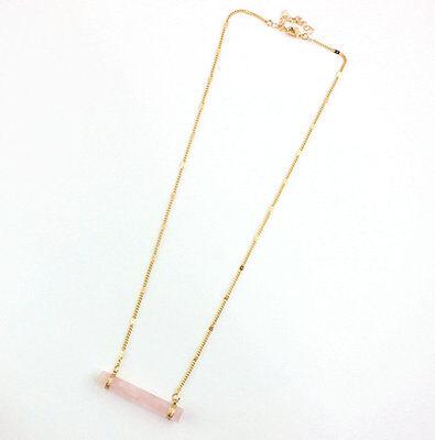 New 14K Gold Plated Rose Quartz Hexagon Cylinder Pendant Necklace