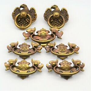 Brass American Eagle Drawer Pull Hardware Bail Drop & Ring Vintage lot of 7 pcs.