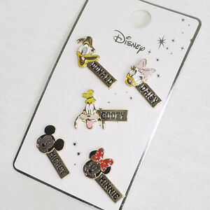 Disney-PIN-6er-SET-MICKEY-Donald-GOOFY-Minnie-goldfarben-DISNEY-Anstecknadel