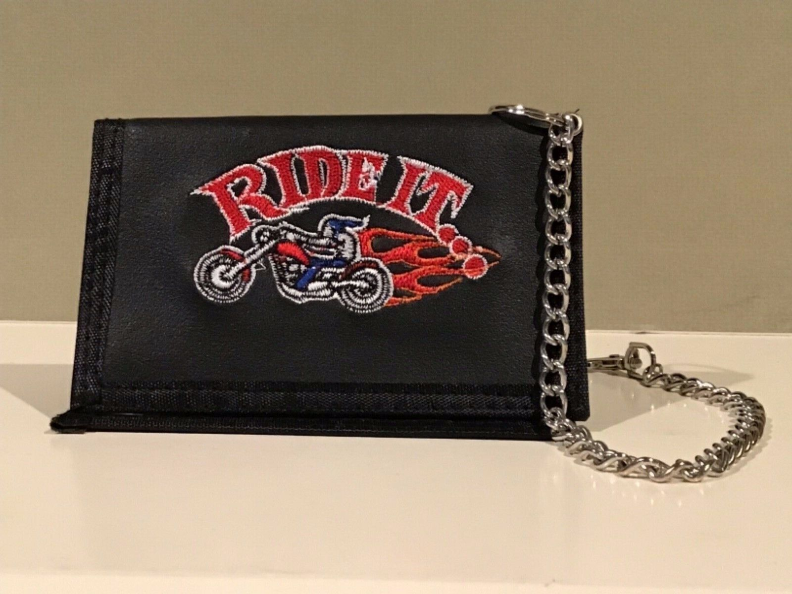 Men's Trifold Wallet with Embroidered Motorcycle Ride It