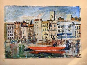 Emilio-Bobes-Spanish-Artist-Harbor-Spain-Espana-Oil-Painting-26-x-38-Barcelona