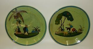 Pair-Vintage-Mexican-Pottery-9-034-Round-Plates-with-Sides-Hand-Painted-Folk-Art