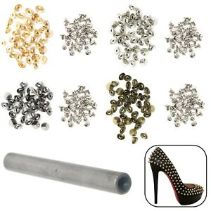 Set of 50 Embellishment for Bag Leather Crafts 6.5mm Spiked Studs for Punk Rock or Goth Metal Fashion Clothes Trimming Shop Gold High Cone Spike Studs Rivets Belt