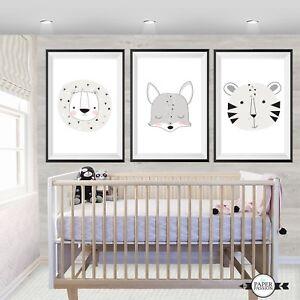 SET OF Three Woodland wall Prints/ Nursery Prints/Various Sizes/Gender Neutral