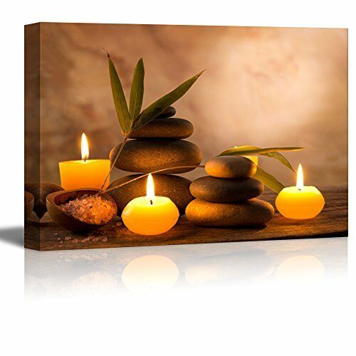 Framed Aromatic Candles Stone Zen Spa Canvas Wall Art Picture
