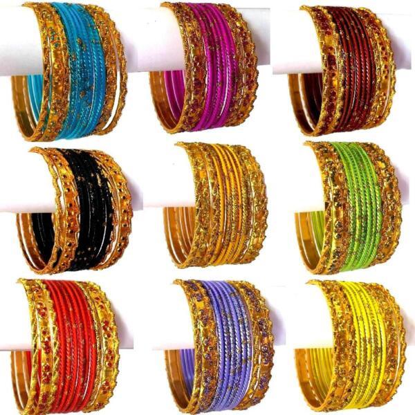 12 Indische Armreifen Set Ø6,4cm Schmuck Armband Bollywood Churiyan Bangles Sari