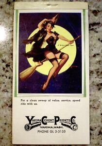 Elvgren-Pinup-Calendar-1960-Halloween-Witch-Riding-High-Ad-Litho-Original-COA