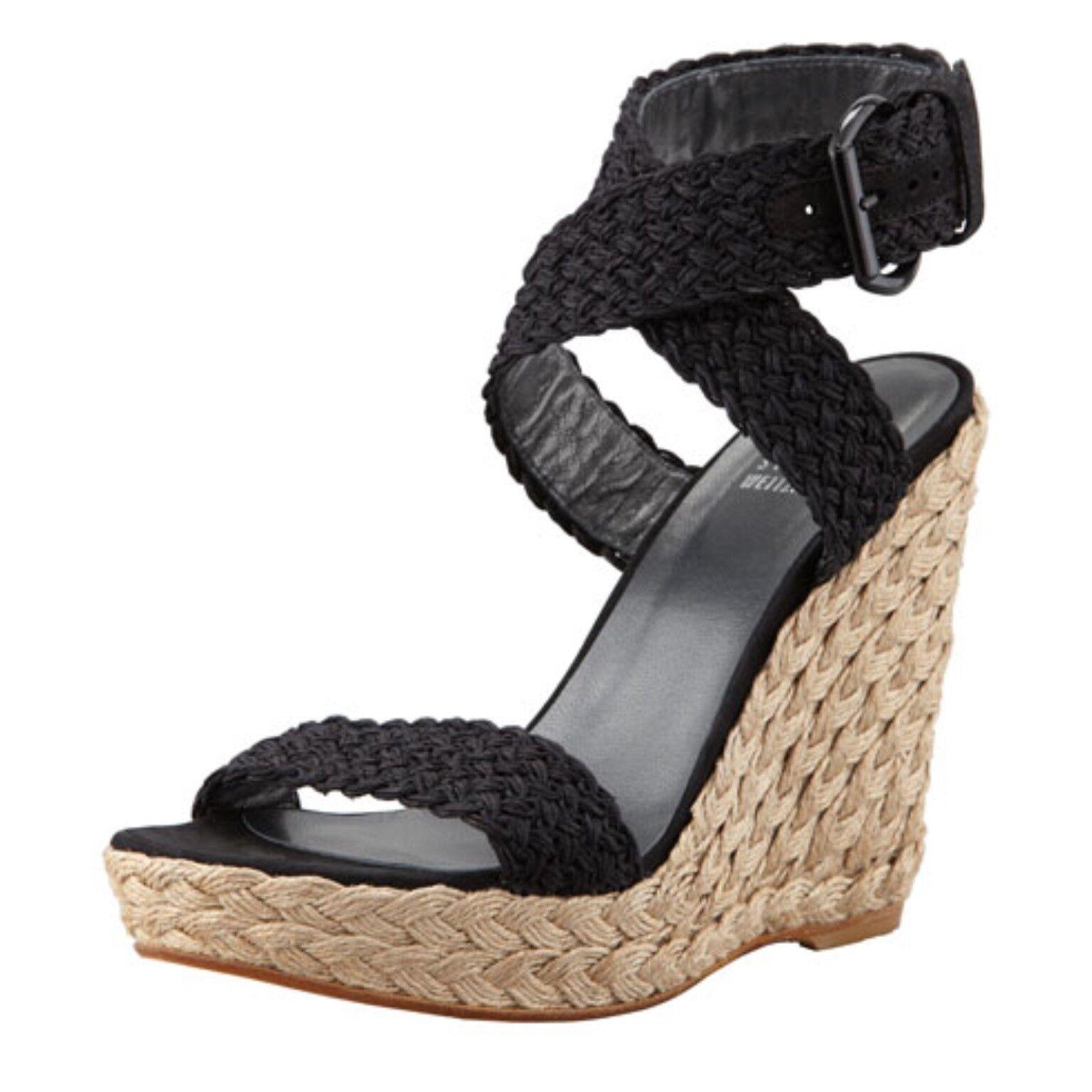 Stuart Weitzman Auth  399 para mujer mujer mujer de Crochet Negro Alex Con Cuña Sandalias De Plataforma 9.5  clásico atemporal
