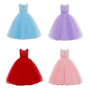 Flower Girls Princess Long Tulle Dress Wedding Christmas Prom Ball Gown For Kids