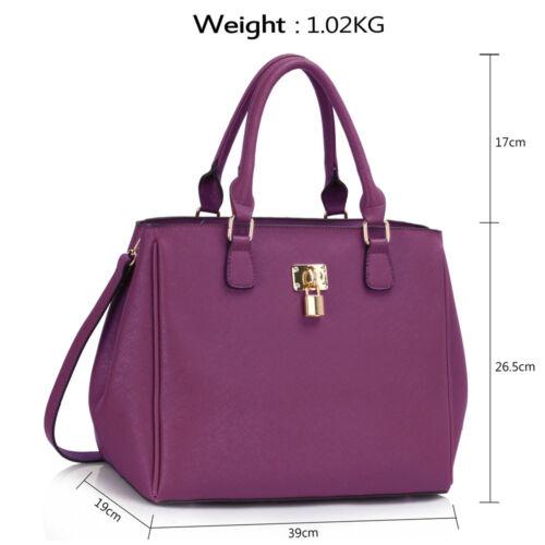 Ladies Fashion Designer Large Tote Handbag Women/'s Quality Padlock Shoulder Bags
