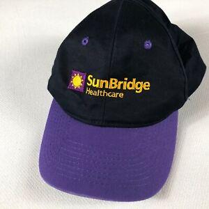 Sunbridge-Healthcare-Double-Snapback-Hat-VTG-Cap-Adult-One-Size-Black-Purple-90s