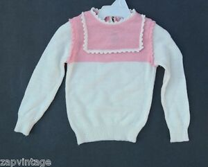 Vintage 1950's White / Pink Macy's Doll / Baby Play Clothes / Clothing Sweater