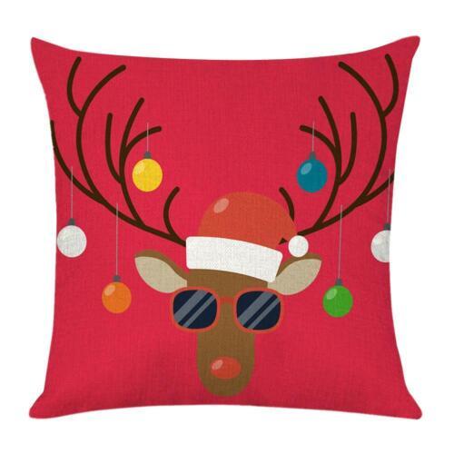 Christmas Pillow Case Glitter Cotton Linen Sofa Throw Cushion Cover Home Decor