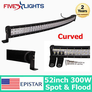 52INCH 300W LED LIGHT BAR CURVED DRIVING COMBO OFFROAD 4WD JEEP TRUCK 50/54 288W