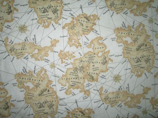 VINTAGE BRITISH MAP UK HISTORICAL INTERNATIONAL TAN COTTON FABRIC FQ