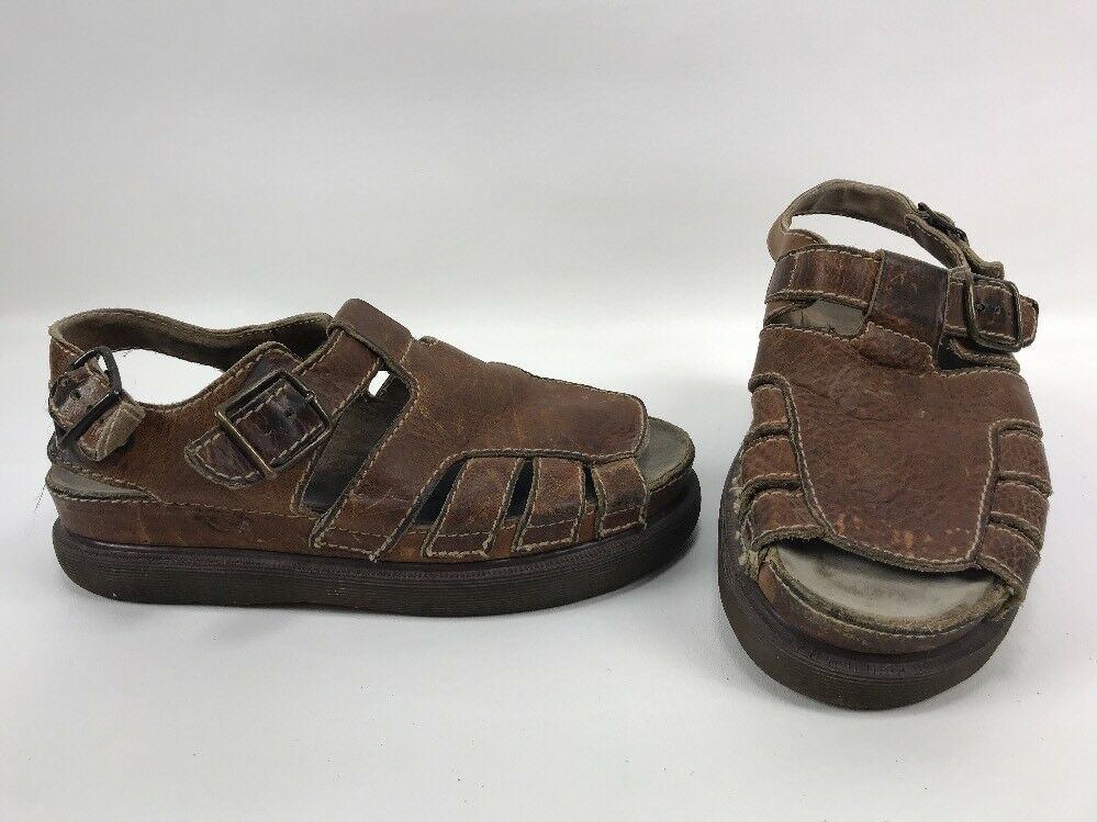 Dr Martens Doc Fisherman Sandals England 8344 Brown Leather Mens Size 10 shoes