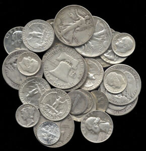 SILVER-SALE-LOT-PRE-1964-BAG-MIXED-90-US-OLD-COINS-SURVIVAL-MONEY-COINS