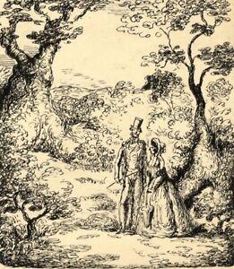 Harold Hope Read, Georgian Lovers in Landscape –Original 1920s pen & ink drawing