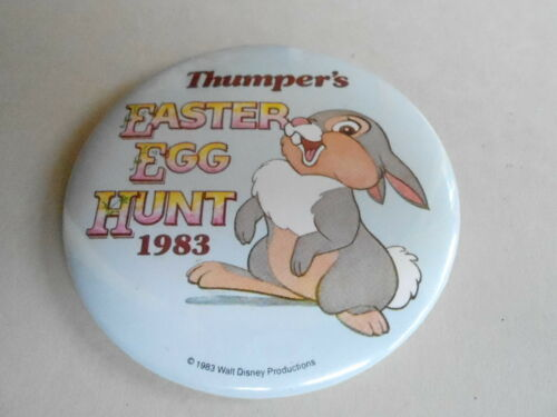 "VINTAGE 3"" PROMO PINBACK BUTTON #92050 DISNEY THUMPER'S EASTER EGG HUNT '83"