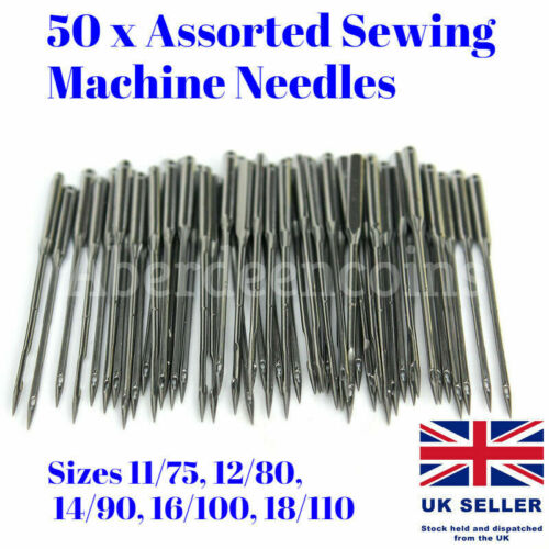 50 x Assorted Home Sewing Machine Needles Craft Tool for Brother Janome Singer
