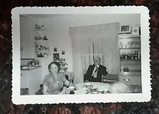 Vintage Old 1950 Photo Classic Kitchen Nook Old Couple Tea Man Smoking a Pipe
