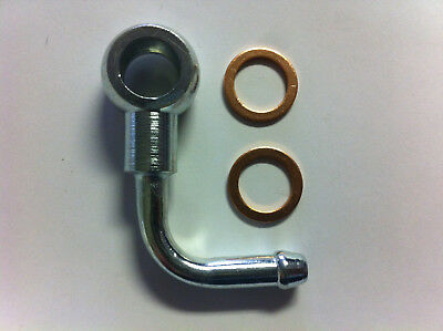 "Banjo Elbow with Copper Washers 5//16/"" 14X8 Hole 12mm For Line 8mm ID"