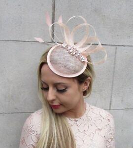 8881927f9aa Rose Gold Blush Pink Sinamay Feather Pillbox Hat Fascinator Races ...