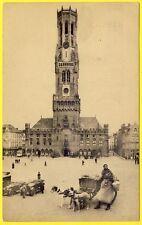 cpa Photo Montage BRUGES Beffroi et Grand'Place VOITURE à CHIEN DOGCART Laitière