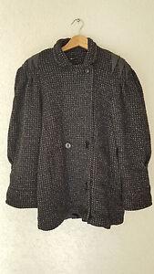 Vtg en mélangée pour États femmes Manteau pour à fabriqué tweed noir Unis laine bouton Micki en grand femmes aux rwrCqHnF5