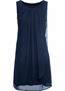 chiffonkleid gr 50 dunkelblau abendkleid cocktailkleid kurzes partykleid neu  ebay