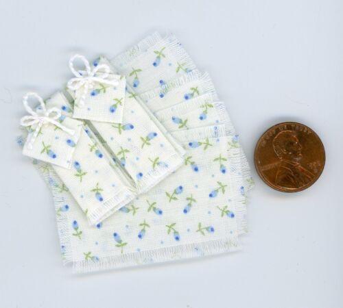 Miniature Dollhouse 8 Pc Dish Towel Set White w// Tiny Blue Flowers
