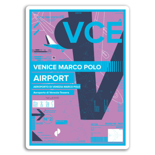 2 x 10cm Venice Marco Polo Airport Vinyl Stickers Italy Travel Sticker #17434