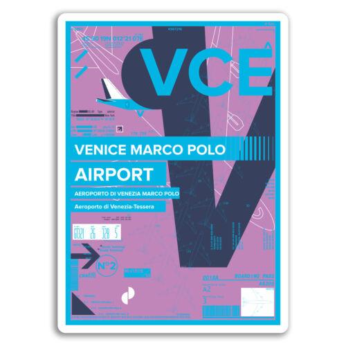 2 x 10cm Venice Marco Polo Airport Vinyl Stickers Italy Travel Sticker #17434