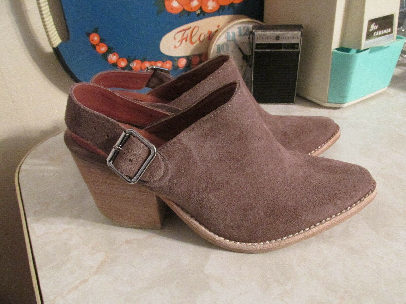 Jeffrey Campbell Route 66 Tan Suede Mule size 7.5 Slingback Buckle or Slip On
