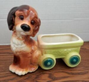 Vintage ROYAL COPLEY Spaniel Terrier Puppy Dog With Flyer Wagon Planter 1950's