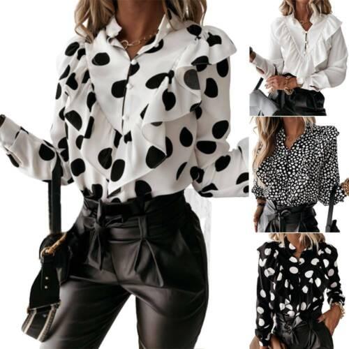 Womens Polka Dot Long Sleeve Blouse Tees Shirts Ladies Ruffle Loose Tops Autumn