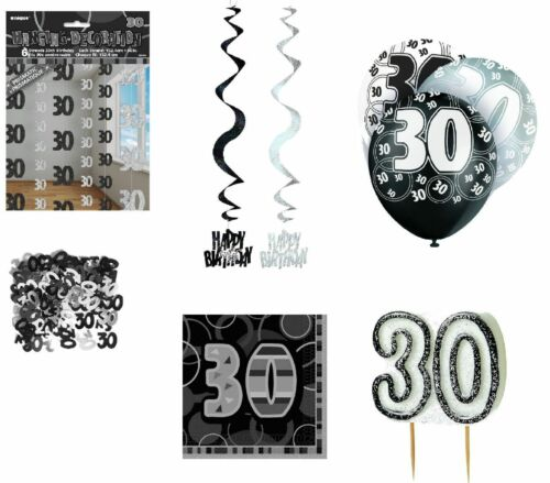 Deko 30 Geburtstag schwarz//silber Partydekoration Girlanden Konfetti Deko 30