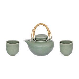 Steingut Keramik teekanne teeservice 3 teilig steingut keramik grün becher tasse sieb